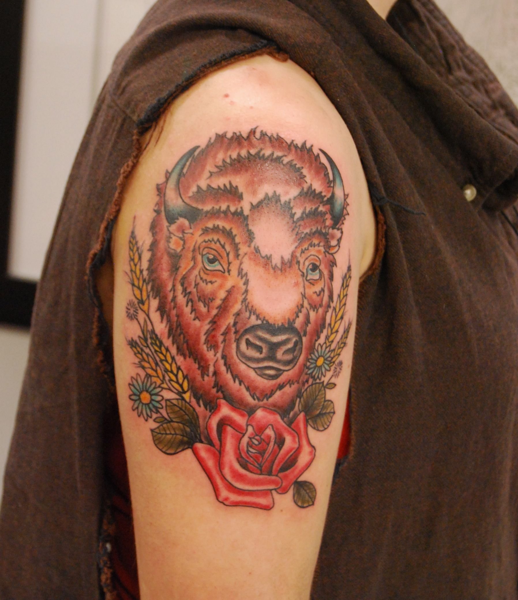 Bison tattoo black iron tattoo for Traditional bison tattoo