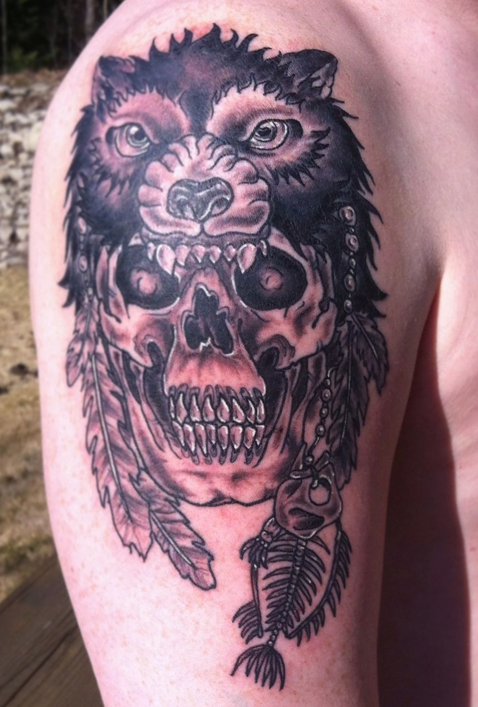 Black wolf head tattoo for Wolf head tattoos